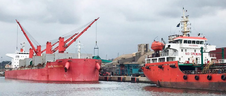 Two ships in the port of Durban.
