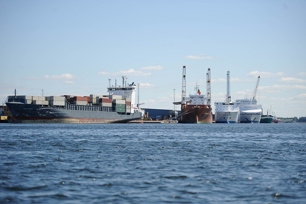 Freighters at a harbour.