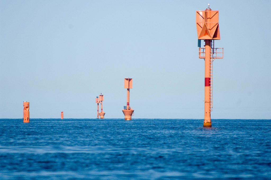 Buoys at the sea.